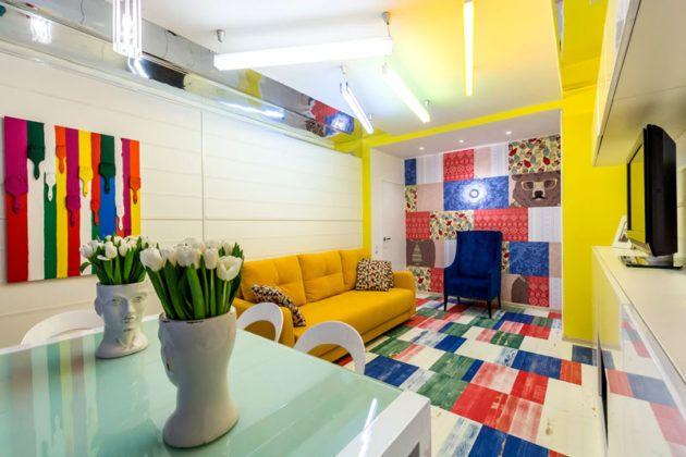 Фото дизайна квартиры-студии в стиле «поп-арт»