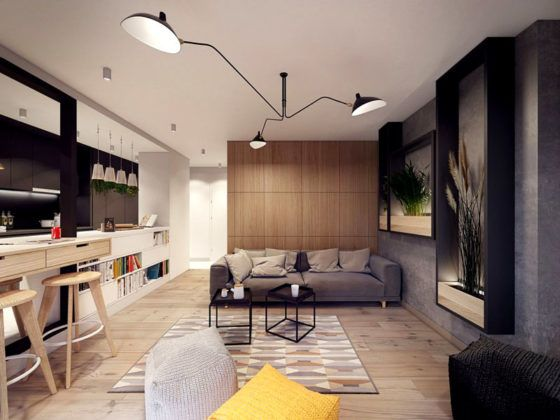 На фото показано, как выглядит квартира-студия в типичном современном стиле