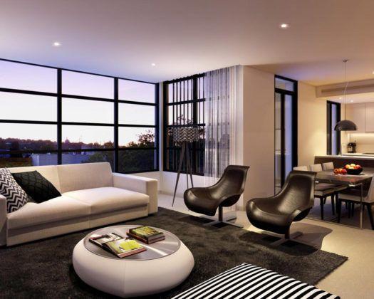 Панорамные окна− всегда большой плюс в любой квартире, тем более выполненной в современном стиле