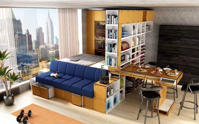 Подиум с ящиками – прекрасный вариант для квартиры-студии