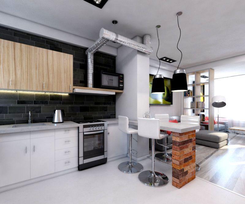 Стол, он же и разграничитель между кухней и гостиной