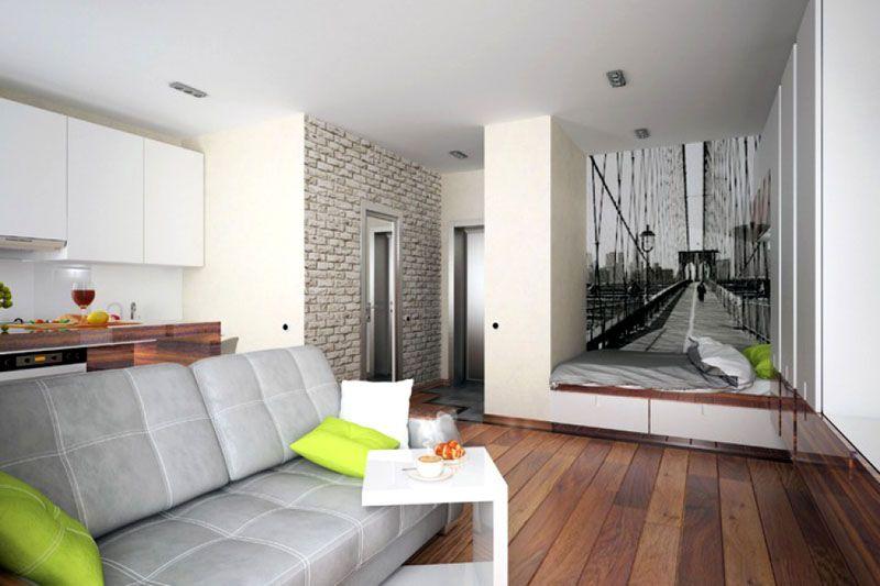 Решение устраивать спальное место на подиуме в нише довольно популярно