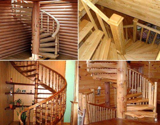 Лестница на второй этаж своими руками из дерева с фото 95