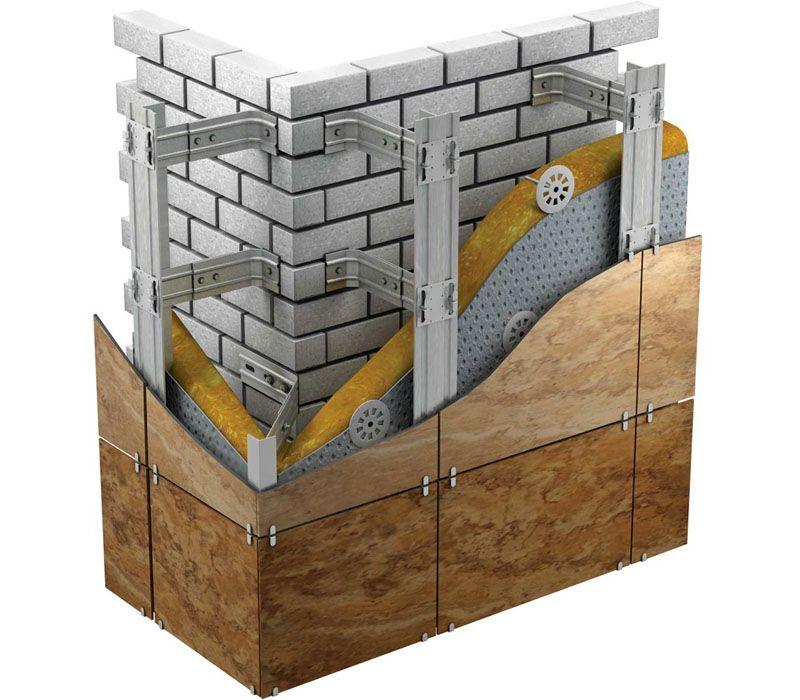 Вентилируемый фасад имеет особую структуру