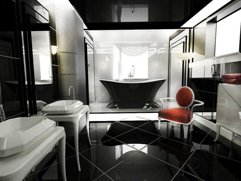 Чёрно-белая классика с ярким акцентом в виде кресла
