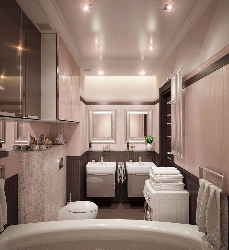 Натяжной потолок и точечные светильники в интерьере небольшой ванной комнаты