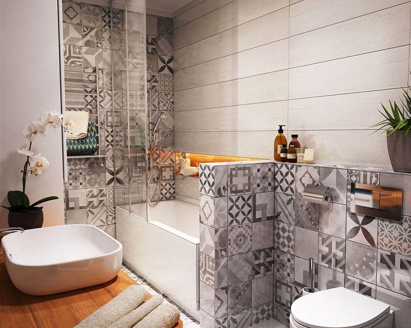 Современный дизайн ванной комнаты с оригинальной кафельной плиткой