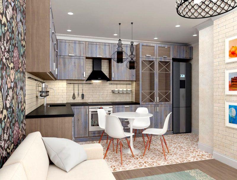 Дизайн кухни-гостиной в 15 м²