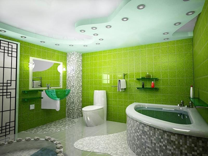 Такую ванную комнату можно сделать только в частном доме или крупногабаритной квартире
