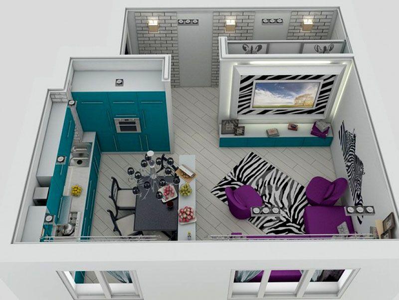 Фото планировки кухни-столовой-гостиной