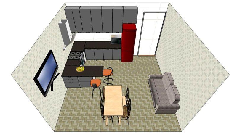 Фото дизайна кухни-гостиной в 16 м²