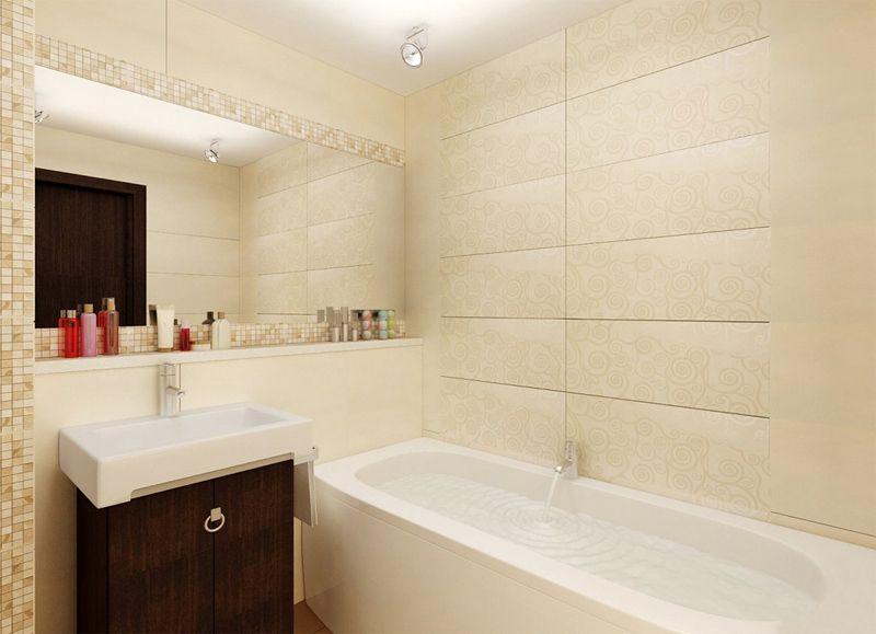В маленькой ванной лучше использовать отделку светлых тонов, чтобы зрительно увеличить пространство.