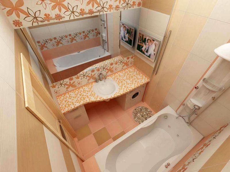 Небольшая ванная комната со столешницей и встроенным умывальником