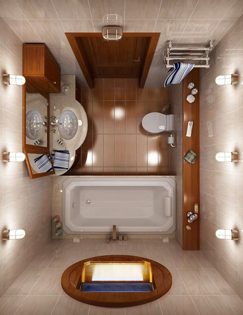 Вариант планировки ванной, совмещённой с туалетом