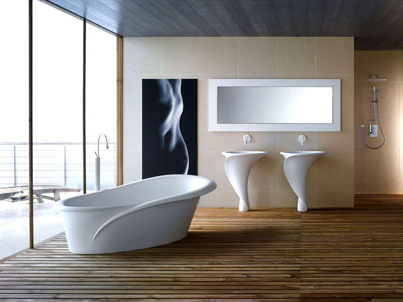 Раковины и ванна белого цвета в форме цветка – выбор истинной женщины