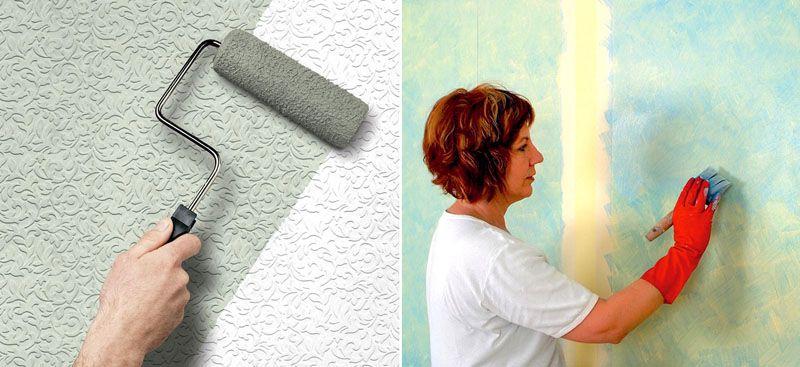 Окрашивать стены можно кистью или валиком в зависимости от желаемого результата