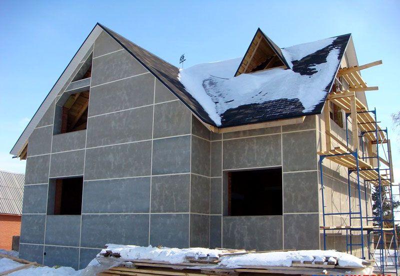 Фасад, обшитый цементно-стружечными плитами