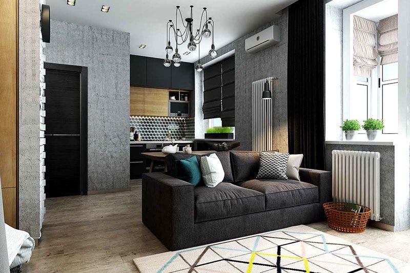 Фото дизайна однокомнатной квартиры в 33 м²