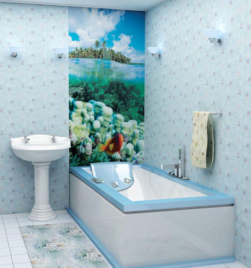 Фото ванной комнаты после ремонта ПВХ-панелями с тематическим рисунком