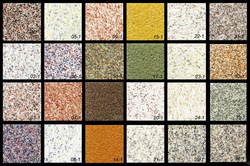 Разные по типу, фактуре и цвету виды штукатурки