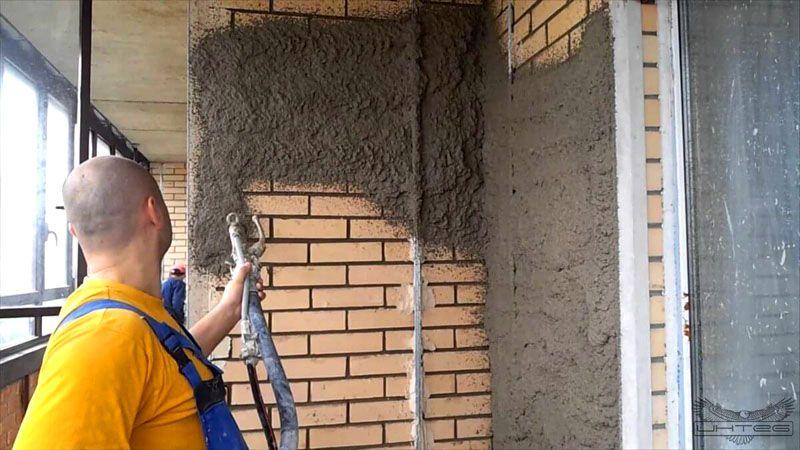 Нанесение цементного отделочного раствора