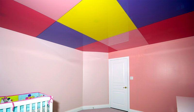 Красивый натяжной потолокв детской комнате