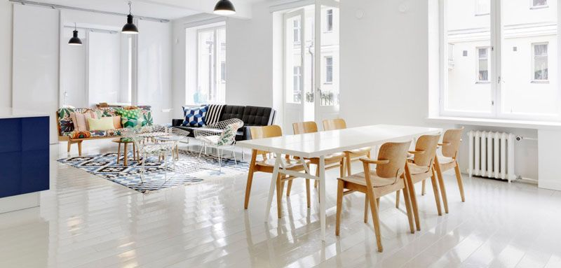Классический скандинавский стиль – окна без штор, белая цветовая гамма, тёплые натуральные оттенки мебели