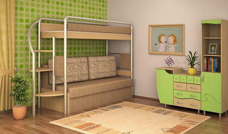 Кровать 2-ярусная с диваном