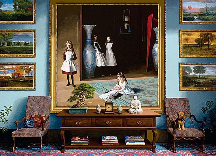 Качественные копии известных картин в интерьер гостиной позволят превратить её в небольшой филиал Лувра или Эрмитажа