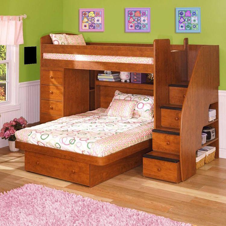 Двухъярусная кровать-чердак с диваном для родителей внизу