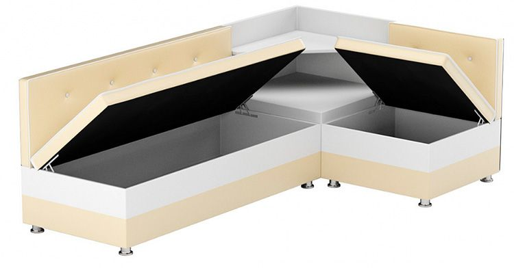 Мягкий уголок для кухни со встроенными отсеками для хранения и подъёмными сиденьями