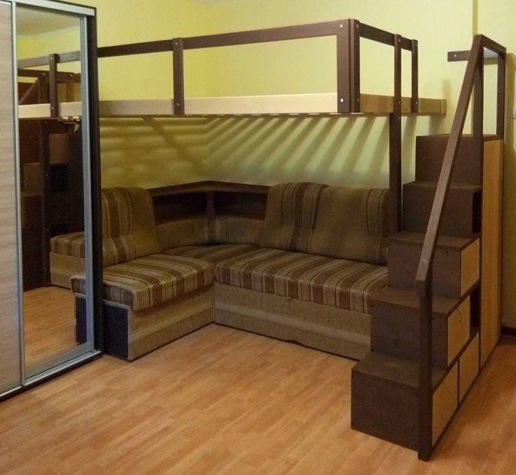 Двухъярусная кровать для взрослых с диваном внизу