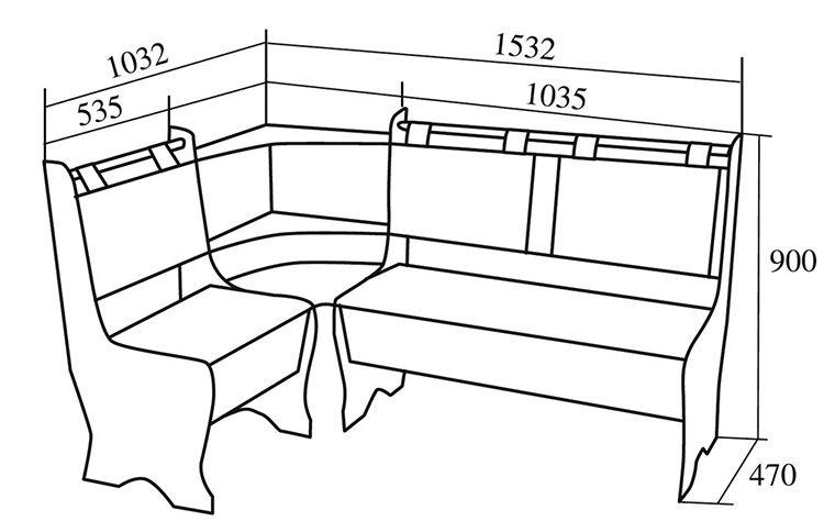 Стандартные размеры традиционного кухонного уголка со встроенными отсеками для хранения вещей