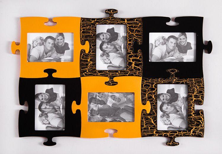 Оригинальная фоторамка для нескольких фото, сделанная в виде пазлов
