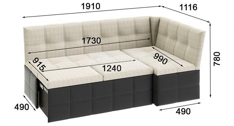 Размеры мягкого уголка для кухни с выдвижным спальным местом