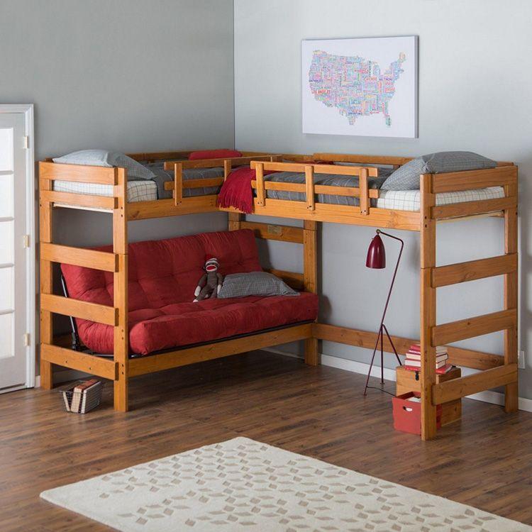 Двухъярусная конструкция с диваном внизу и двумя спальными местами вверху