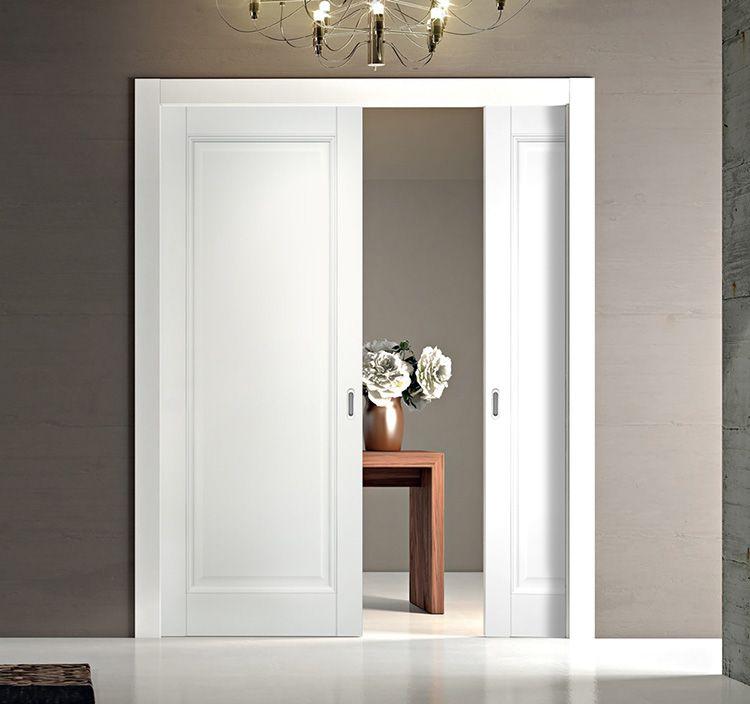 Для современного интерьера можно купить недорого межкомнатные двери «белая эмаль» раздвижного типа