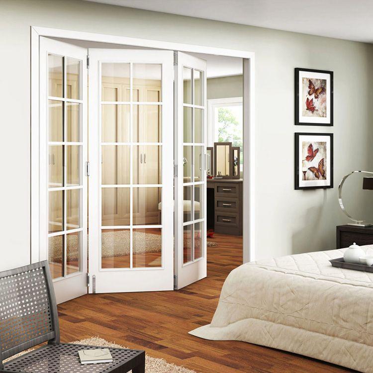 Белые стеклянные двери-гармошка