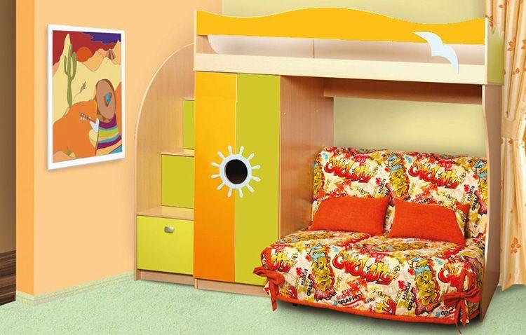 Двухъярусная кровать с диваном, выполненная в ярких цветах, идеально подходит для детской комнаты
