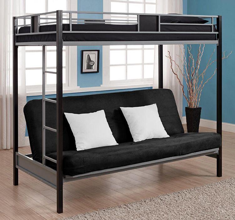 Двухъярусная кровать из металла выглядит строго и лаконично
