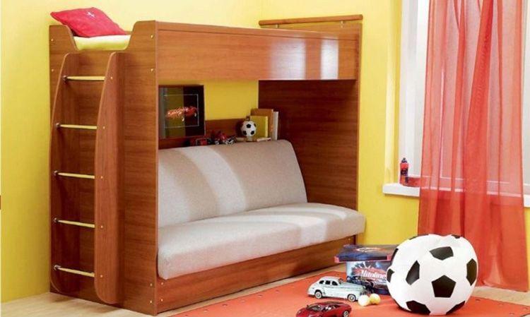 Двухэтажная конструкция с диваном-книжкой