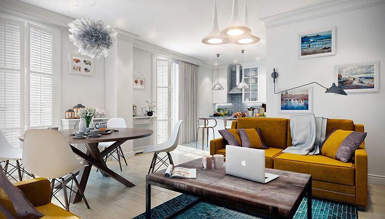 В интерьере в скандинавском стиле диван станет ярким акцентом, который разбавит белоснежный фон