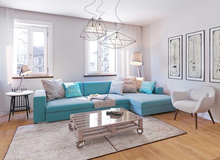 Яркий диван в качестве цветового акцента в интерьере
