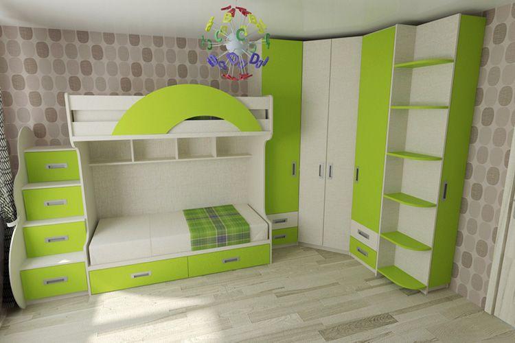 Двухъярусная кровать с вместительной системой хранения