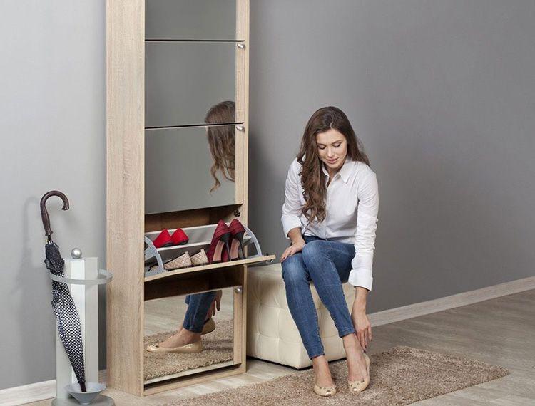 Обувница с зеркалом, изготовленная из ЛДСП