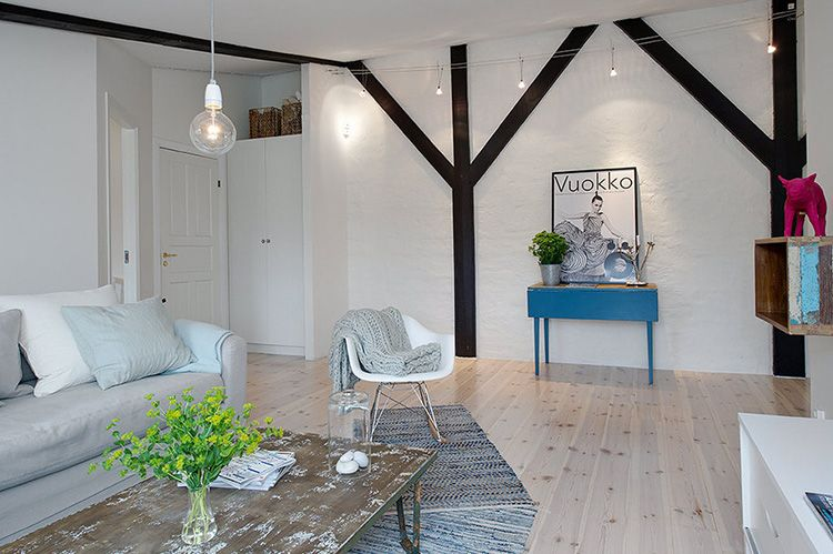 Стены скандинавских домов изначально только штукатурились и белились