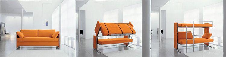 Процесс трансформации дивана в двухъярусную кровать