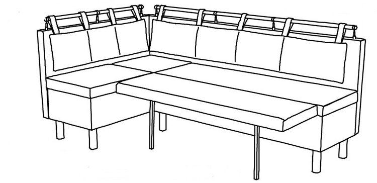 Угловой диванчик на кухню со спальным местом откидного типа