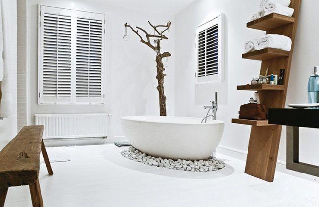 Природные материалы в интерьере ванной комнаты