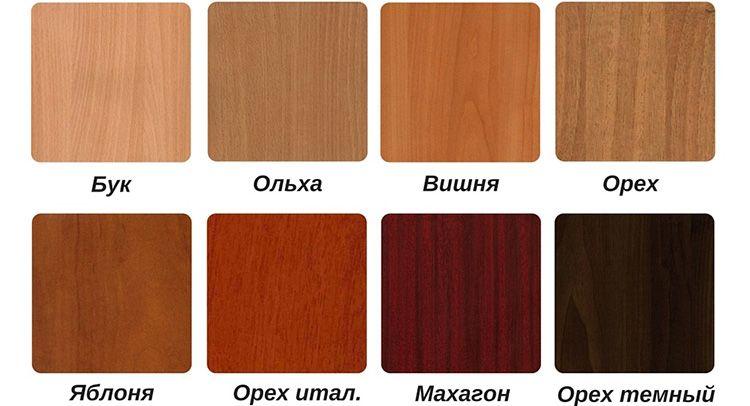 Основные цвета ЛДСП, используемого при изготовлении кухонных уголков